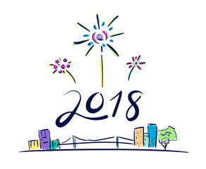 Vector of 2018 new year number firework floating over cityscape in doodle cartoon style,Holiday celebration concept