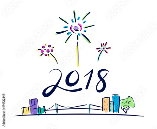 vector of 2018 new year number firework floating over cityscape in doodle cartoon styleholiday