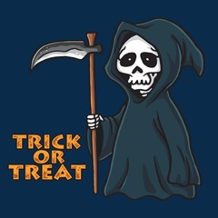 Grim Reaper Halloween Card Invitation Design Illustration Template