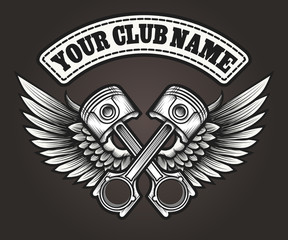Biker club emblem with winged pistons