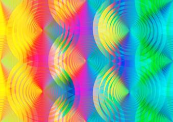 Abstract rainbow background of lines and circles