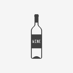 Bottle of wine monochrome icon. Vector illustration.