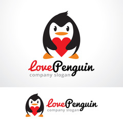 Love Penguin Logo Template Design Vector, Emblem, Design Concept, Creative Symbol, Icon