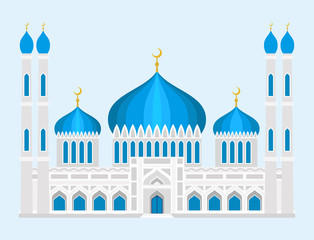 Cathedral mosque church temple traditional building landmark tourism vector illustration