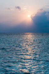 On the Sunset. Colors of sunset over the  Maldives Islands.