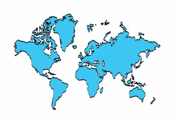 White world map outline graphic freehand drawing on blue background see more gumiabroncs Gallery