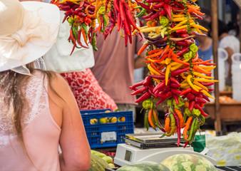 frische Peperoni auf dem Markt