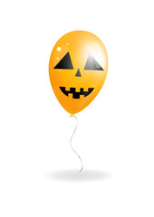 Halloween balloon on white background. Jack-o-lantern. Vector illustration.