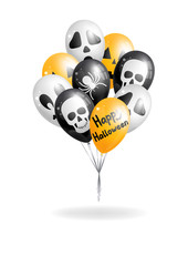 Halloween orange, black and white balloons bunch on white background. Vector illustration.