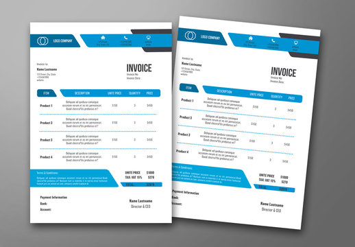 Invoice Layout with Blue Accents 2