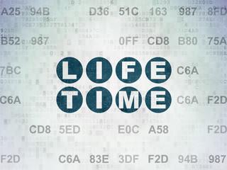 Timeline concept: Life Time on Digital Data Paper background