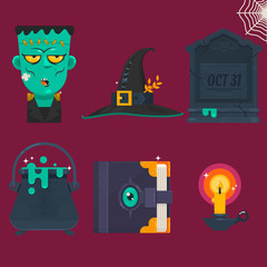 vector illustration of collection of Halloween icon set