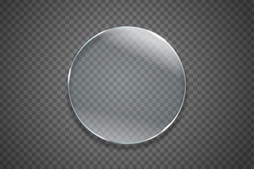 Vector isolated realistic glass circle on the transparent background for decoration and covering.