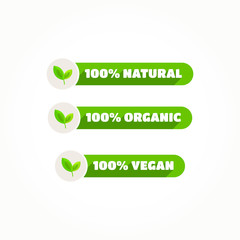 100% Natural, Organic & Vegan Labels
