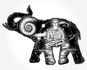 Elephant tattoo art. Symbol of spirituality, meditation, yoga, traveling. Buddha, ammonite, mountains. Magic elephant double exposure animals sacral style t-shirt design