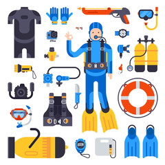 Set of flat elements for spearfishing scuba diving underwater protective sea diver equipment vector professional hunter tools.
