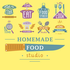 Cooking badge motivation text vector illustration bakery shop food typography labels design elements