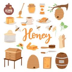 Apiary vector illustrations beekeeping honey jar natural organic sweet insect honied beeswax honeyed beehive beekeeper tools.