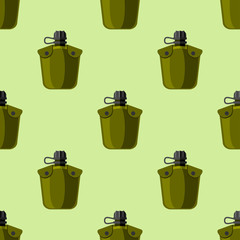 Military or outdoor travel water flask vector illustration seamless pattern background