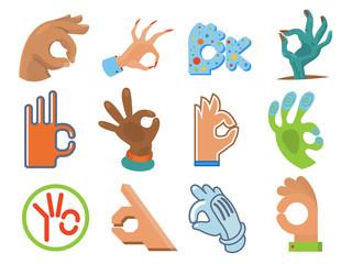 Ok hand human sign okey yes agreement signal vector illustration