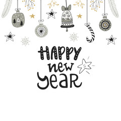 Happy new year- hand drawn Christmas card with lettering and decorations. Cute New Year clip art. Vector illustration