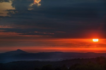 Sunset above highland. Czech republic.
