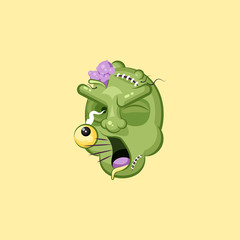 Head, terrible facial expression zombie, yelling scream smiley emotion, emoji, sticker for Happy Halloween flat style