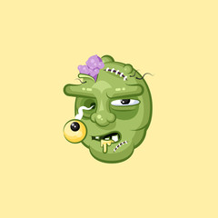 Head, terrible facial expression hungry zombie nasty ugly emotion, emoji, sticker for Happy Halloween in flat style