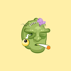 Head, terrible facial expression of zombie smoking cigarette emotion, emoji sticker for Happy Halloween