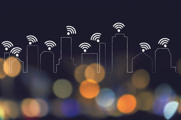 city skyline where every building is connected to a wi-fi network