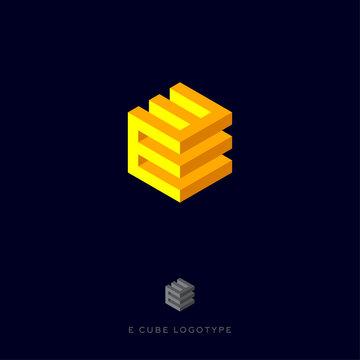 E cube yellow logo. Building Logo. E monogram. E cube yellow logo on the dark background.