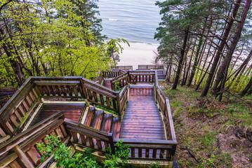 Huge stairs on a Kawcza Gora mount in Miedzyzdroje village over Baltic Sea, Poland