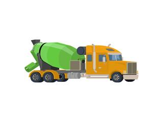 Concrete mixing truck vector. Flat design