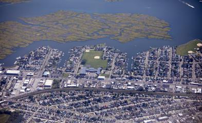 Aerial view of the Island Park neighborhood of Long Island, New York