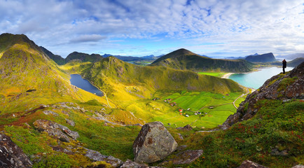 Sunny norwegian landscape