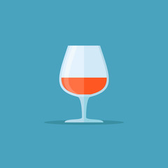 Glass of cognac or brandy isolated on blue background. Flat style icon. Vector illustration.
