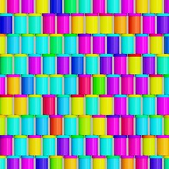 Orderly Arrangement of Free Floating Brightly Colored Film Containers