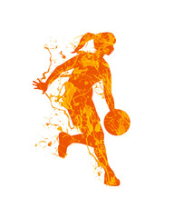 Woman basketball player. Vector splash paint