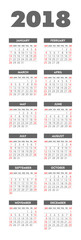 Vector pocket 2018 year calendar