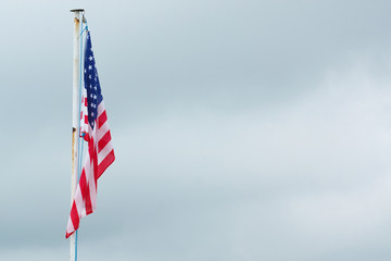 The American flag on a flagpole