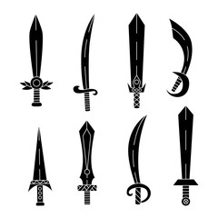 Swords knifes vector set
