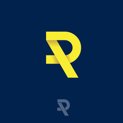 R origami logo. R letter. Yellow R monogram on a dark background.