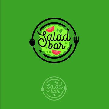 Salad bar logo. Cafe or restaurant emblem. Plate with fork, spoon and salad on the green background.