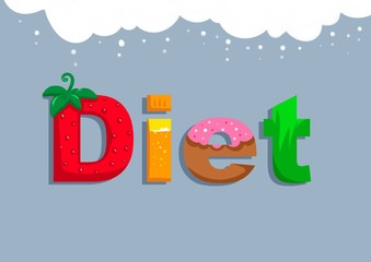 Text Diet cooking product illustration