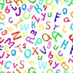 Hand drawing decorative English alphabet, cartoon style sketch,