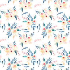 Seamless floral pattern with watercolor flower bouquets in pink and blue shades, hand-painted on a white background