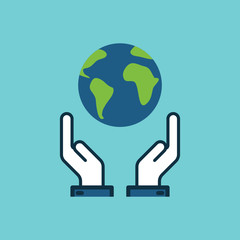 flat color save world, earth in hands icon