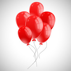 Bunch of red balloons on white background