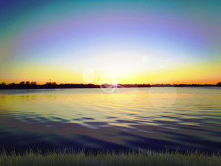 Sunset on lake picture background
