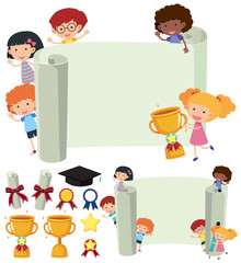Paper template with happy kids and trophy